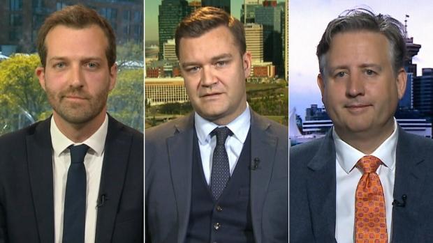 MPs Joel Lightbound, Matt Jeneroux and Kennedy Stewart on CTV's Question Period on Sunday May 20, 2018. (CTV News)