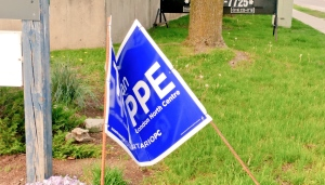 London North Centre PC candidate Susan Truppe had some of her signs damaged over the weekend. (Susan Truppe / Twitter)
