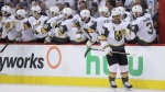The Vegas Golden Knights celebrate after Ryan Reaves (75) scored during second period NHL Western Conference Finals game 5 hockey action against the Winnipeg Jets, in Winnipeg, Sunday, May 20, 2018. (THE CANADIAN PRESS/Trevor Hagan)