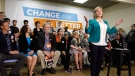 Ontario NDP Leader Andrea Horwath speaks at a campaign stop in Ottawa on Sunday, May 20, 2018. THE CANADIAN PRESS/ Patrick Doyle