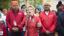 Ontario Liberal Leader Kathleen Wynne speaks at a press conference at the Malton Gurdwara ahead of running 5K in the Inspirational Steps Run in Mississauga, Ont., on May 20, 2018. THE CANADIAN PRESS/Marta Iwanek