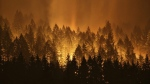 The Eagle Creek wildfire burns on the Oregon side of the Columbia River Gorge near Cascade Locks, Ore., on Sept. 5, 2017. (Genna Martin / seattlepi.com via AP)