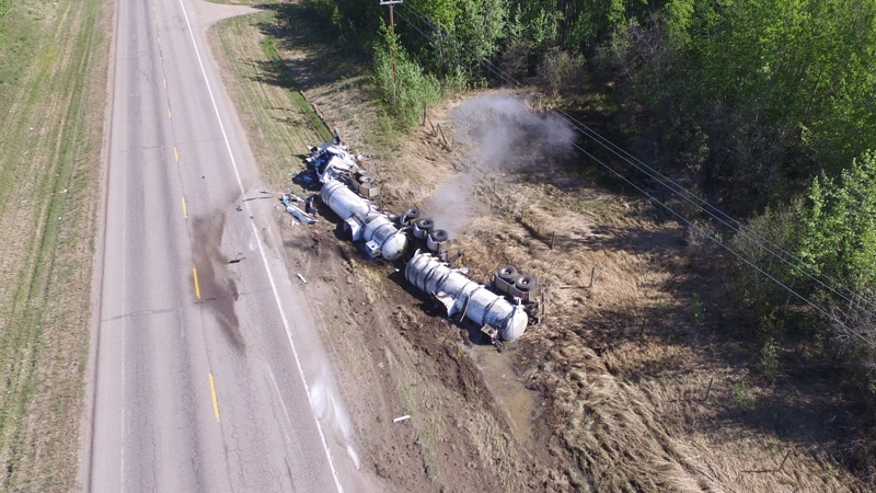 RCMP said a section of Hwy 831 was closed Monday, May 21, 2018, after a tractor trailer unit hauling hydrochloric acid crashed, and the chemical leaked. Supplied.