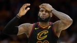 Cleveland Cavaliers' LeBron James (23) reacts in the second half of Game 3 of the NBA basketball Eastern Conference finals against the Boston Celtics, Saturday, May 19, 2018, in Cleveland. (AP Photo/Tony Dejak)