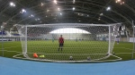 This photo taken on Thursday, May 17, 2018, shows an indoor soccer pitch at the Olympic Sports Center in Saransk, Russia. (AP Photo/Julia Chestnova)