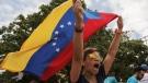 Opponents of Venezuelan President Nicolas Maduro protest the previous day's presidential election which Maduro won, in Caracas, Venezuela, Monday, May 21, 2018. (AP Photo/Fernando Llano)
