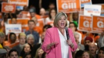 Provincial NDP Leader Andrea Horvath speaks to a packed room of supporters at an NDP rally in Brampton, Monday, May 21, 2018. THE CANADIAN PRESS/Galit Rodan