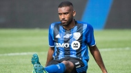 Montreal Impact's Anthony Jackson-Hamel sits on the pitch following his team's loss to L.A. Galaxy in an MLS soccer game in Montreal, Monday, May 21, 2018. THE CANADIAN PRESS/Graham Hughes