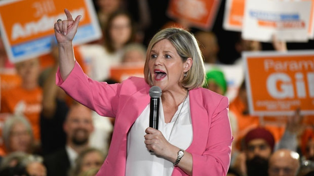 Provincial NDP leader Andrea Horwath delivers a speech to supporters at an NDP rally in Brampton, Monday, May 21, 2018. THE CANADIAN PRESS/Galit Rodan
