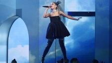 Ariana Grande performs 'No Tears Left To Cry' at the Billboard Music Awards at the MGM Grand Garden Arena on May 20, 2018, in Las Vegas. (Chris Pizzello / Invision / AP)