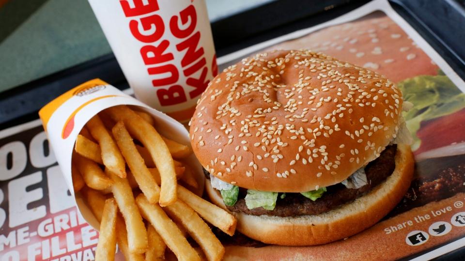 This Feb. 1, 2018, photo shows a Burger King Whopper meal combo at a restaurant in Punxsutawney, Pa. (AP Photo/Gene J. Puskar)