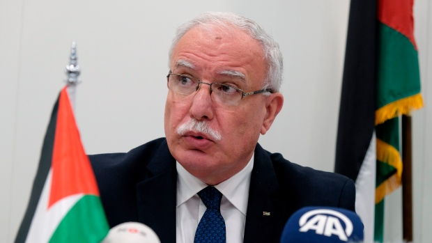 Palestinian Foreign Minister Riad Malki speaks during a press conference at the International Criminal Court on Tuesday May 22, 2018. (AP Photo/Mike Corder)