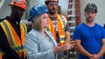 Ontario NDP leader Andrea Horwath makes a campaign stop as she talks with apprentices and journeymen at the Ironworkers local 721 office in Toronto on Tuesday, May 22, 2018. THE CANADIAN PRESS/Nathan Denette