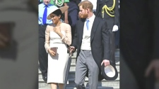 Royal newlyweds attend garden party for Prince Ch