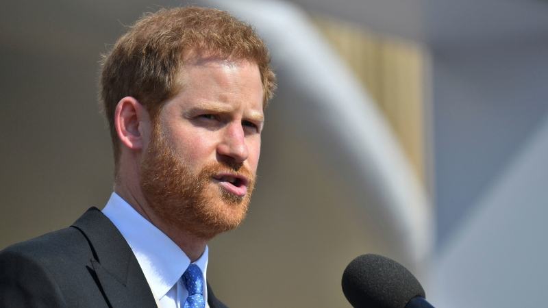 Prince Harry speaks during a garden party at Buckingham Palace in London, Tuesday May 22, 2018. (Dominic Lipinski/Pool Photo via AP)