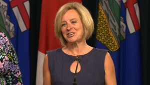 Alberta Premier Rachel Notley speaks to reporters on Tuesday, May 22, 2018.