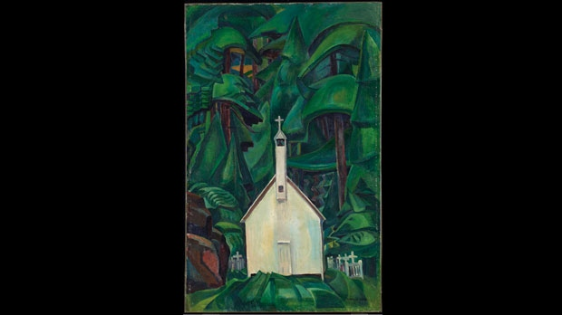 "Emily Carr's painting ""Church In Yuquot Village"""