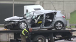 A transport truck and vehicle collided in Kitchener and left one person with their legs trapped, according to officials.