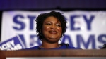 Democratic candidate for Georgia Governor Stacey Abrams smiles as she speaks during an election-night watch party May 22, 2018, in Atlanta. (John Bazemore / AP)