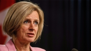 Alberta Premier Rachel Notley updates reporters on the progress of the Kinder Morgan pipeline in Edmonton on Wednesday, May 16, 2018. THE CANADIAN PRESS/Jason Franson