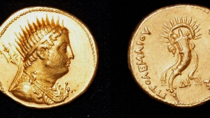 This undated photo released by the Egyptian Ministry of Antiquities, shows a gold coin, depicting King Ptolemy III, who ruled Egypt in the 3rd century B.C. and was an ancestor of the famed Cleopatra, that was found in the San El-Hagar archaeological site in Gharbia province, north of Cairo, Egypt. (Egyptian Ministry of Antiquities via AP)