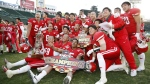 Members of Nihon University's American football team pose after winning the Koshien Bowl, an annual college football national championship game, in Hyogo Prefecture, western Japan, in Dec. 2017.  (Kyodo News via AP)