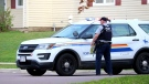 The RCMP respond to a report of a man carrying two long guns in Moncton on May 22, 2018. (Wade Perry)