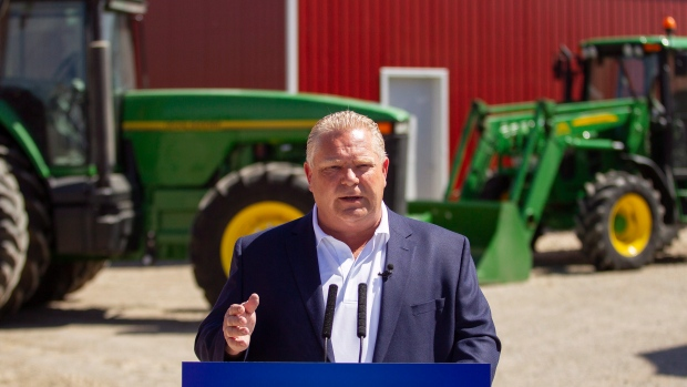 Ontario PC leader Doug Ford makes an announcement during a campaign stop on a farm in the town of Lakeshore, Ont. on Wednesday, May 23, 2018. (THE CANADIAN PRESS/ Geoff Robins)