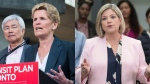 Ontario Liberal Leader Kathleen Wynne and Ontario NDP Leader Andrea Horwath make campaign stops in Toronto on May 23, 2018. (Nathan Denette/Chris Young/THE CANADIAN PRESS)