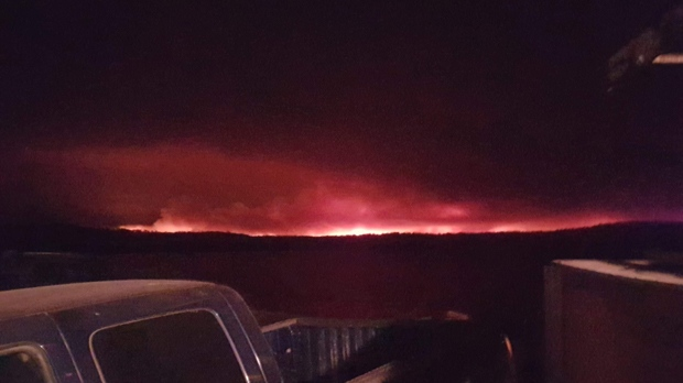 The fire as seem from Pauingassi First Nation, which will also be evacuated.