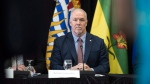British Columbia Premier John Horgan takes part in a media event at the Western Premiers' Conference in Yellowknife, N.T., Wednesday, May 23, 2018. THE CANADIAN PRESS/Pat Kane