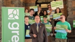 Ontario Green Party leader Mike Schreiner speaks at an event in Guelph on Wednesday, May 23, 2018. (Marta Czurylowicz / CTV Kitchener)