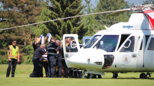 A 40-year-old man is rushed to hospital following a stabbing at an Abbotsford, B.C. farm.