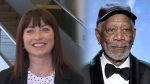 Laureen Regan, the voice of TransLink's SkyTrain system, is sharing her platform with acclaimed actor Morgan Freeman. (Photo illustration. Freeman image by Vince Bucci/Invision/AP)