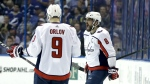Washington Capitals left wing Alex Ovechkin celebrates his goal against the Tampa Bay Lightning with teammate defenceman Dmitry Orlov during the first period of Game 7 of the NHL Eastern Conference finals hockey playoff series in Tampa, Fla. on Wednesday, May 23, 2018. (AP Photo/Chris O'Meara)