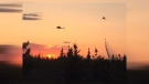Aerial response to the wildfire west of Cochrane late Wednesday evening (photo courtesy: Cinthia Zeer)
