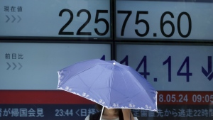 A woman stands with a parasol in front of an electronic stock board showing Japan's Nikkei 225 index at a securities firm in Tokyo Thursday, May 24, 2018. (AP Photo/Eugene Hoshiko)