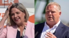 Ontario NDP Leader Andrea Horwath and Ontario PC Leader Doug Ford campaign on May 23, 2018. (Chris Young/Geoff Robins/THE CANADIAN PRESS)