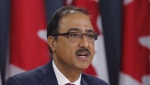 Infrastructure Minister Amarjeet Sohi speaks at a press conference in Ottawa on Thursday, April 19, 2018. THE CANADIAN PRESS/ Patrick Doyle