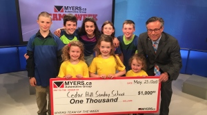 Congratualtions to Cedar Hill Sunday School who is this week's Myers Team of the Week! Cedar Hill Sunday School has worked hard to raise money for CHEO, with over $13, 000 raised over the past 2 years, their hard work has definitely paid off!