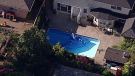 A toddler was found unresponsive in a backyard swimming pool in Mission, B.C. Wednesday. Authorities said she wandered away from a nearby daycare. (Chopper 9)