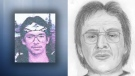 William (Billy) Jay Sharphead is seen in an undated photo released by RCMP when Sharphead was first reported missing in 2003 (L), and in an 'age progression' sketch released Thursday, May 24, 2018 (R). Supplied.