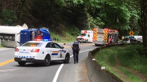 A fuel truck is on its side following an apparent rollover crash on the Trans-Canada Highway at Goldstream Provincial Park. May 24, 2018. (CTV Vancouver Island)