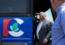 Ontario Progressive Conservative Leader Doug Ford steps off of his campaign bus before an announcement at a campaign stop in Brantford, Ont. on Thursday, May 24, 2018. THE CANADIAN PRESS/Andrew Ryan