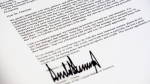 A copy of the letter sent to North Korean leader Kim Jong Un from U.S. President Donald Trump canceling their planned summit in Singapore is photographed in Washington, Thursday, May 24, 2018. (AP Photo/J. David Ake)