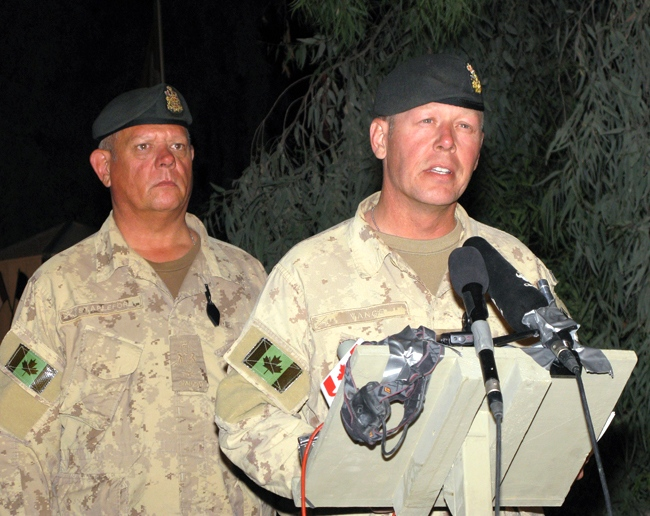 Brig.-Gen. Jonathan Vance announces the death of Pte. Alexandre Peloquin, 20, who was killed in a roadside blast, at the Kandahar Airfield on Monday, June 8, 2009. (Colin Perkel / THE CANADIAN PRESS)