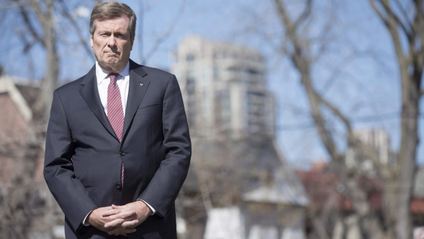 Mayor John Tory stands in front of the media in Toronto on Tuesday April 18, 2017. (THE CANADIAN PRESS/Chris Young)