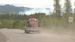 Firefighters are battling a 12-hectare blaze that sparked up near the Quinsam Coal Mine, just west of Campbell River on Wednesday. May 24, 2018. (CTV Vancouver Island)