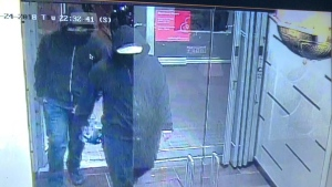 Peel Police have released this image of two suspects who they say set off an 'improvised explosive device' at a restaurant in Mississauga. Ont. on May 24, 2018. (Peel Regional Police)