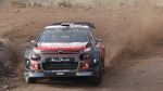 Driver Kris Meeke and his co-driver Paul Nagle race their Citroen C3 WRC during the FIA World Rally Championship in El Condor, Cordoba, Argentina, on April 29, 2018. (Nicolas Aguilera / AP)